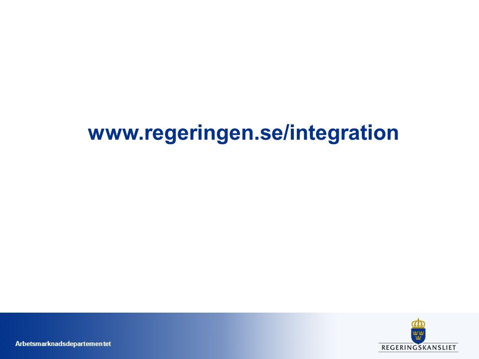 Arbetsmarknadsdepartementet www.regeringen.se/integration