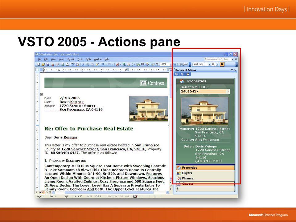 VSTO 2005 - Actions pane
