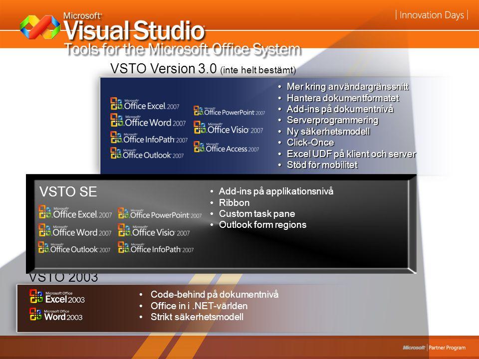 VSTO 2003 Code-behind på dokumentnivå Office in i.NET-världen Strikt säkerhetsmodell VSTO 2005 Custom ActionsPaneCustom ActionsPane Cache av data i do