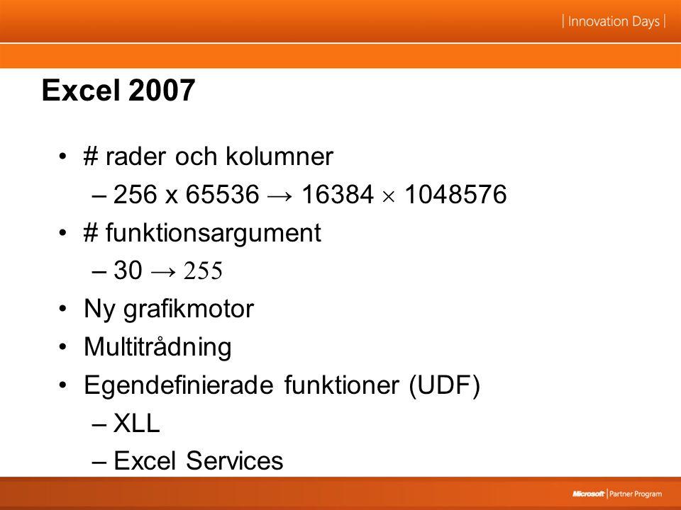 Excel 2007 # rader och kolumner –256 x 65536 → 16384  1048576 # funktionsargument –30 → 255 Ny grafikmotor Multitrådning Egendefinierade funktioner (UDF) –XLL –Excel Services