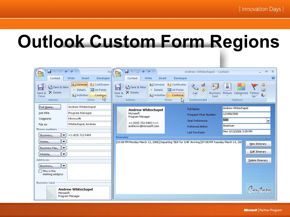 Outlook Custom Form Regions
