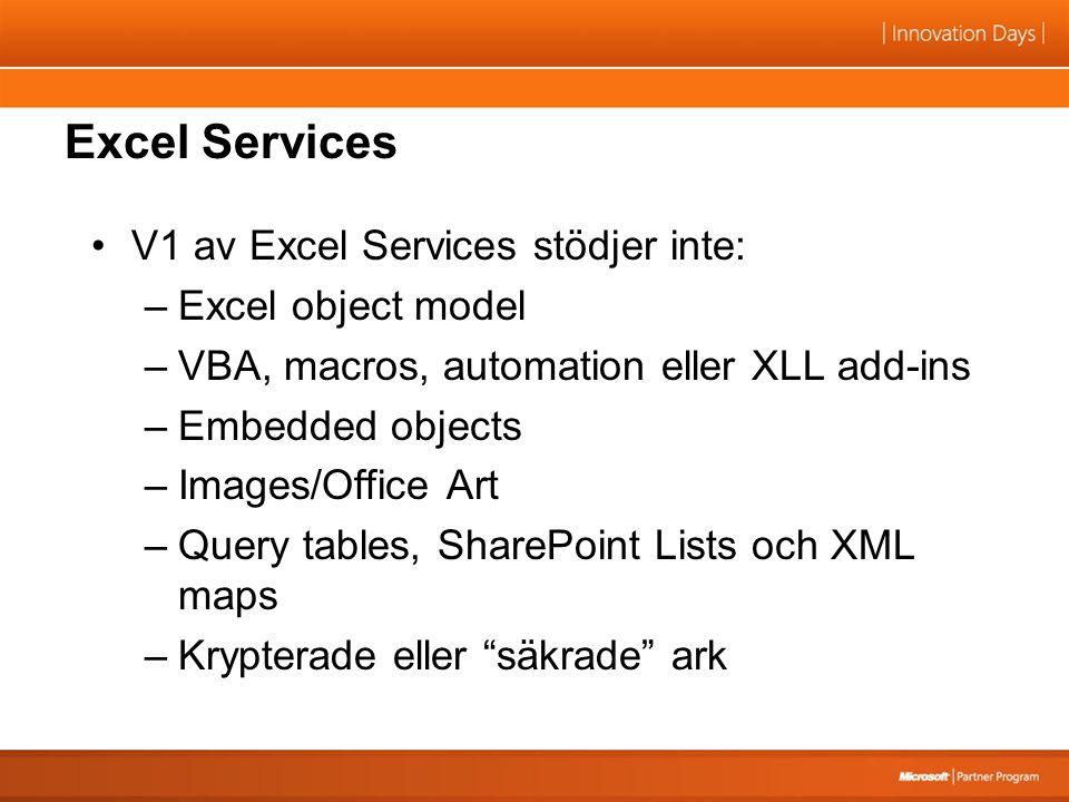 Excel Services V1 av Excel Services stödjer inte: –Excel object model –VBA, macros, automation eller XLL add-ins –Embedded objects –Images/Office Art