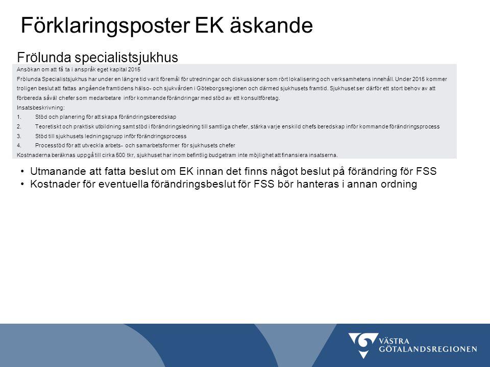 Förklaringsposter EK äskande Ansökan om att få ta i anspråk eget kapital 2015 Frölunda Specialistsjukhus har under en längre tid varit föremål för utredningar och diskussioner som rört lokalisering och verksamhetens innehåll.