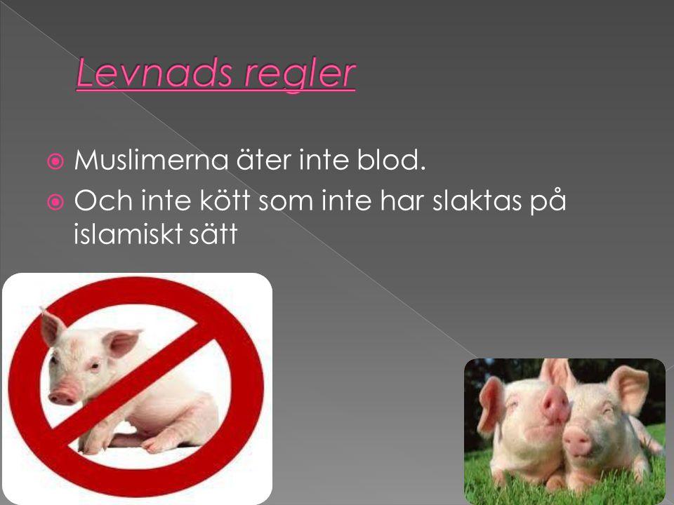  Muslimerna äter inte blod.  Och inte kött som inte har slaktas på islamiskt sätt