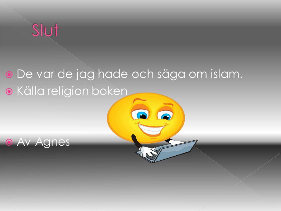  De var de jag hade och säga om islam.  Källa religion boken  Av Agnes