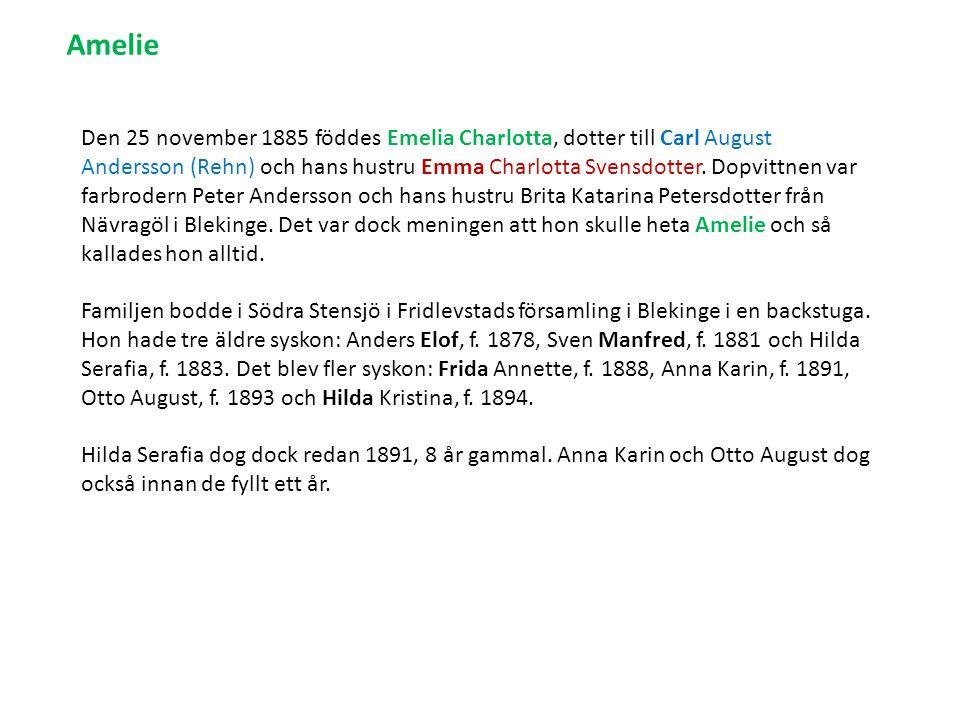 Den 25 november 1885 föddes Emelia Charlotta, dotter till Carl August Andersson (Rehn) och hans hustru Emma Charlotta Svensdotter.