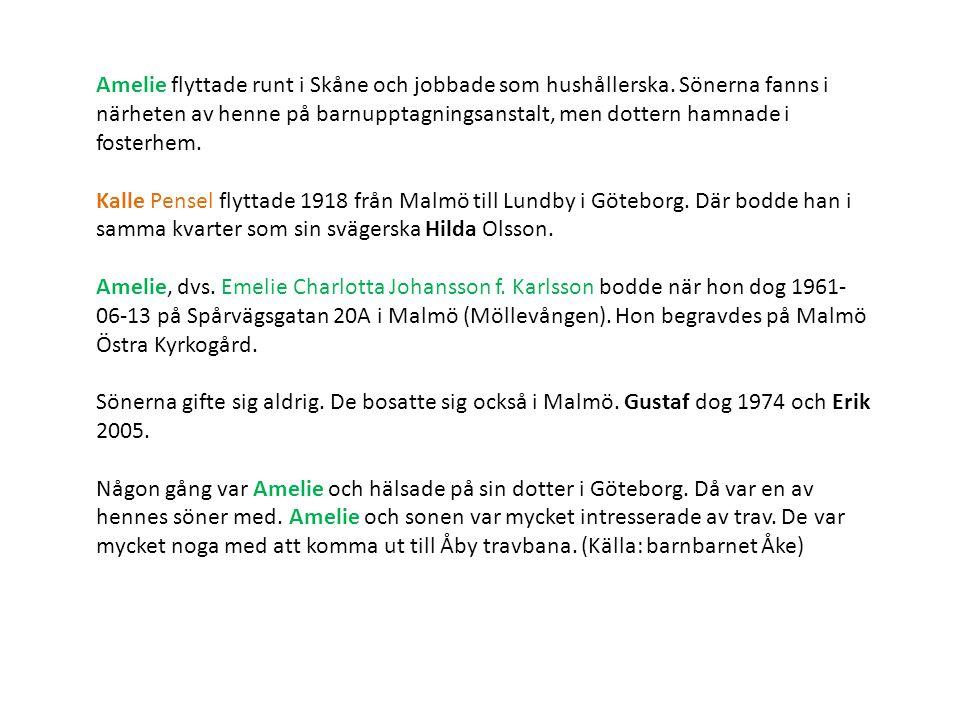 Amelie flyttade runt i Skåne och jobbade som hushållerska.