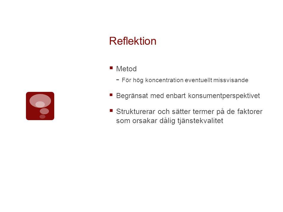 Reflektion  Metod - För hög koncentration eventuellt missvisande  Begränsat med enbart konsumentperspektivet  Strukturerar och sätter termer på de faktorer som orsakar dålig tjänstekvalitet