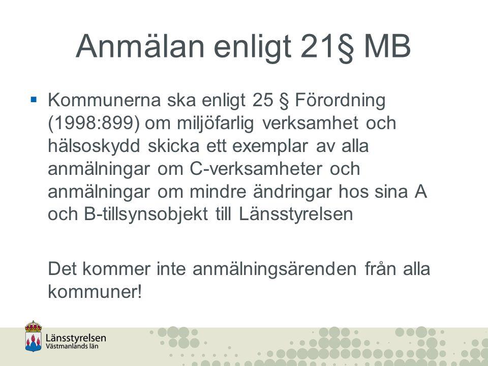Anmälan enligt 21§ MB  Kommunerna ska enligt 25 § Förordning (1998:899) om miljöfarlig verksamhet och hälsoskydd skicka ett exemplar av alla anmälnin