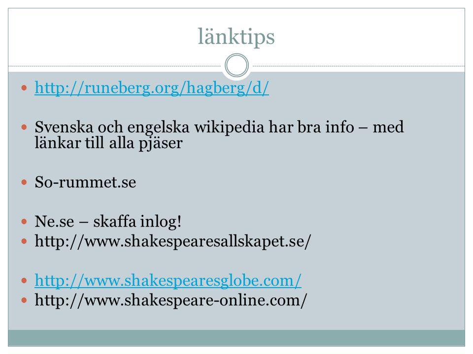 länktips http://runeberg.org/hagberg/d/ Svenska och engelska wikipedia har bra info – med länkar till alla pjäser So-rummet.se Ne.se – skaffa inlog! h