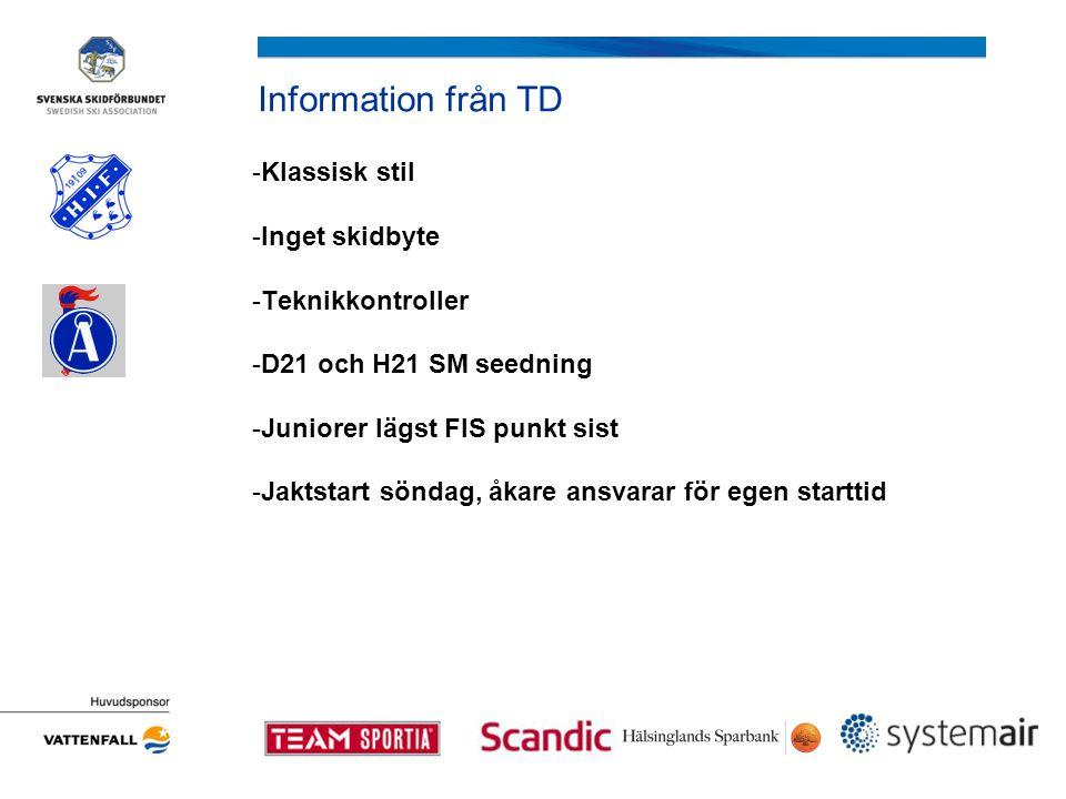 Information från TD -Klassisk stil -Inget skidbyte -Teknikkontroller -D21 och H21 SM seedning -Juniorer lägst FIS punkt sist -Jaktstart söndag, åkare ansvarar för egen starttid
