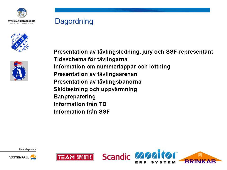 Dagordning Presentation av tävlingsledning, jury och SSF-representant Tidsschema för tävlingarna Information om nummerlappar och lottning Presentation av tävlingsarenan Presentation av tävlingsbanorna Skidtestning och uppvärmning Banpreparering Information från TD Information från SSF
