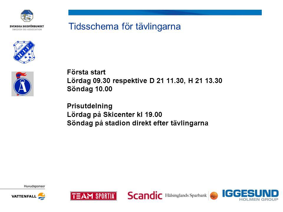 Tidsschema för tävlingarna Första start Lördag 09.30 respektive D 21 11.30, H 21 13.30 Söndag 10.00 Prisutdelning Lördag på Skicenter kl 19.00 Söndag på stadion direkt efter tävlingarna
