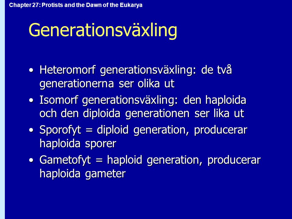 Chapter 27: Protists and the Dawn of the Eukarya Generationsväxling Heteromorf generationsväxling: de två generationerna ser olika utHeteromorf generationsväxling: de två generationerna ser olika ut Isomorf generationsväxling: den haploida och den diploida generationen ser lika utIsomorf generationsväxling: den haploida och den diploida generationen ser lika ut Sporofyt = diploid generation, producerar haploida sporerSporofyt = diploid generation, producerar haploida sporer Gametofyt = haploid generation, producerar haploida gameterGametofyt = haploid generation, producerar haploida gameter