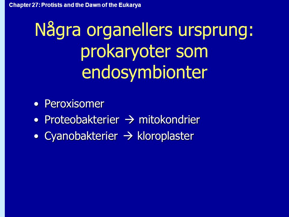 Chapter 27: Protists and the Dawn of the Eukarya Protister: fylogeni Poly- fyletisk grupp Mono- fyletisk grupp Mono- fyletisk grupp...