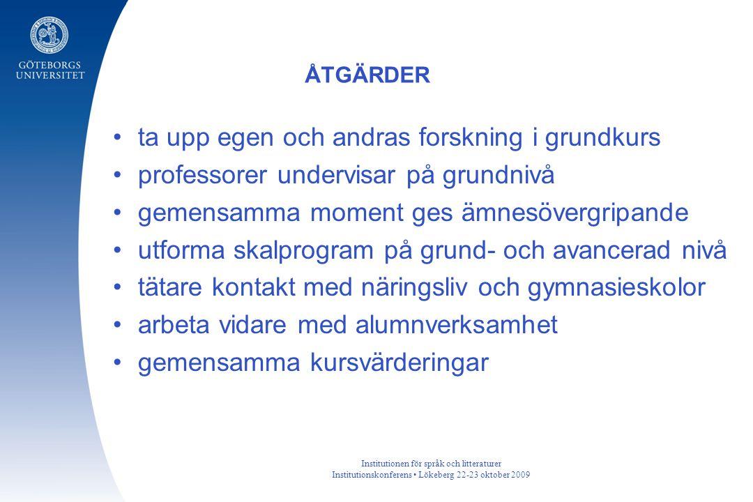 Institutionen för språk och litteraturer Institutionskonferens Lökeberg 22-23 oktober 2009 ta upp egen och andras forskning i grundkurs professorer un