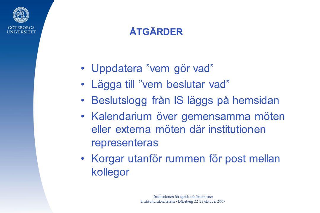 """Institutionen för språk och litteraturer Institutionskonferens Lökeberg 22-23 oktober 2009 Uppdatera """"vem gör vad"""" Lägga till """"vem beslutar vad"""" Beslu"""