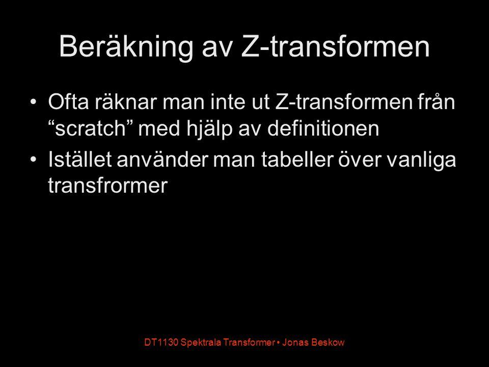 Beräkning av Z-transformen Ofta räknar man inte ut Z-transformen från scratch med hjälp av definitionen Istället använder man tabeller över vanliga transfrormer DT1130 Spektrala Transformer Jonas Beskow