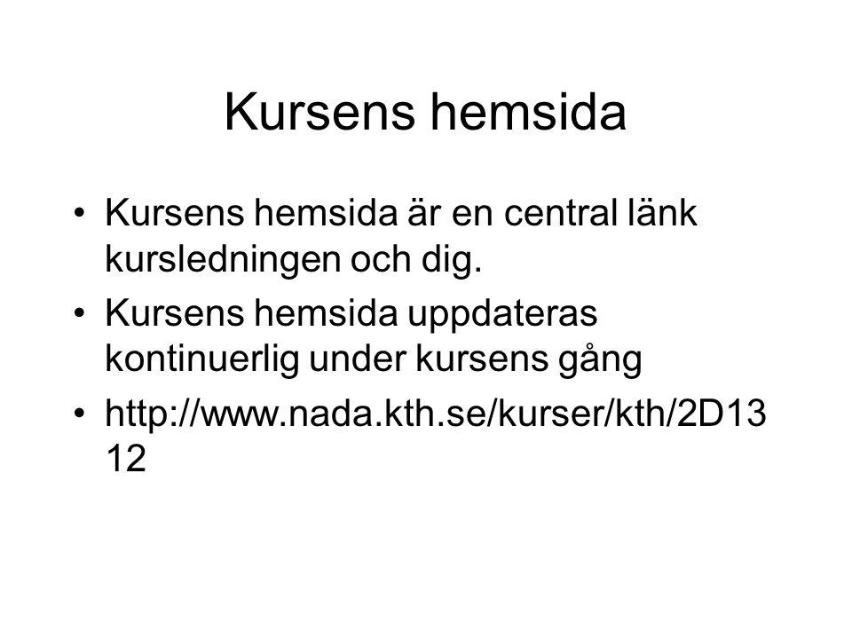 Kursens hemsida Kursens hemsida är en central länk kursledningen och dig.