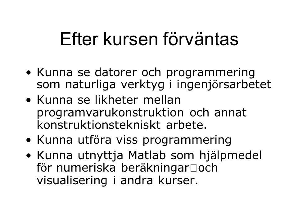 Efter kursen förväntas Kunna se datorer och programmering som naturliga verktyg i ingenj ö rsarbetet Kunna se likheter mellan programvarukonstruktion och annat konstruktionstekniskt arbete.