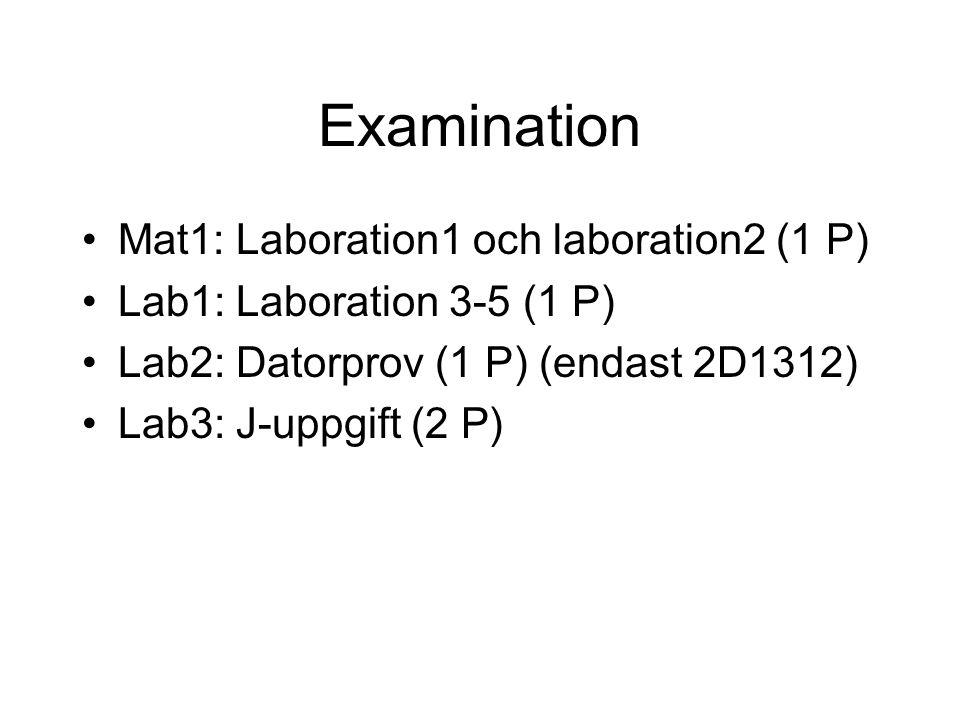 Examination Mat1: Laboration1 och laboration2 (1 P) Lab1: Laboration 3-5 (1 P) Lab2: Datorprov (1 P) (endast 2D1312) Lab3: J-uppgift (2 P)
