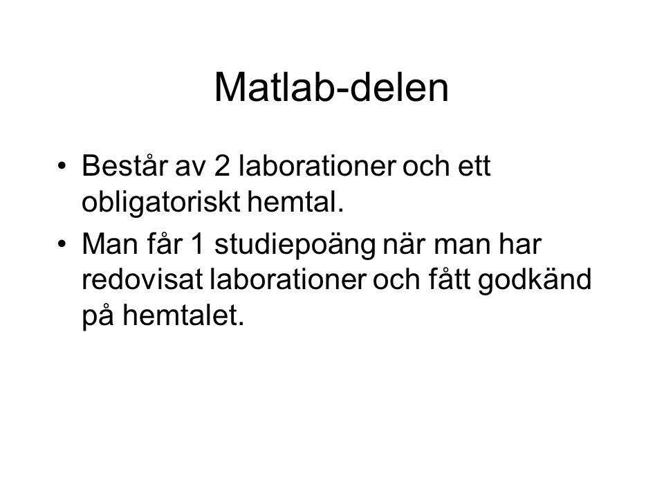 Matlab-delen Består av 2 laborationer och ett obligatoriskt hemtal.