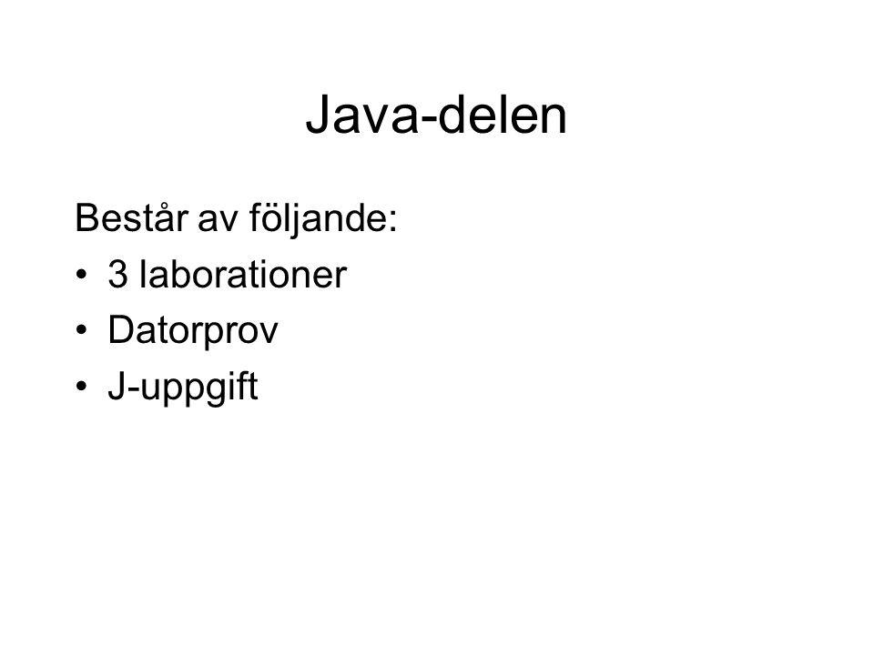 Java-delen Består av följande: 3 laborationer Datorprov J-uppgift