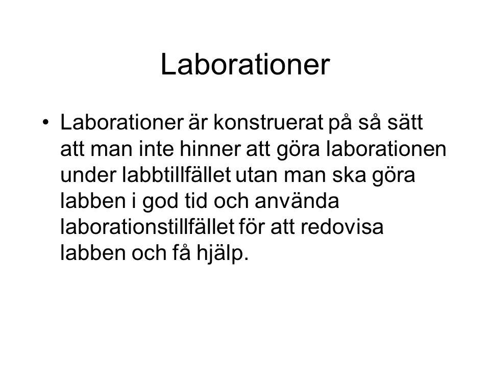 Laborationer Laborationer är konstruerat på så sätt att man inte hinner att göra laborationen under labbtillfället utan man ska göra labben i god tid och använda laborationstillfället för att redovisa labben och få hjälp.