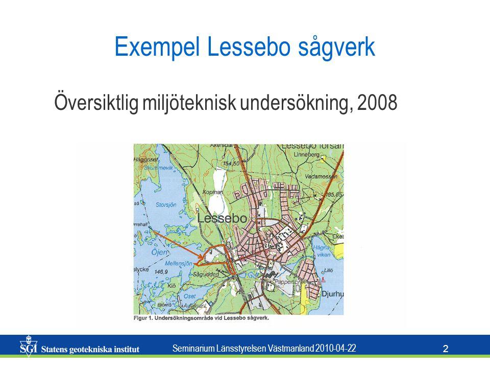 Seminarium Länsstyrelsen Västmanland 2010-04-22 2 Exempel Lessebo sågverk Översiktlig miljöteknisk undersökning, 2008