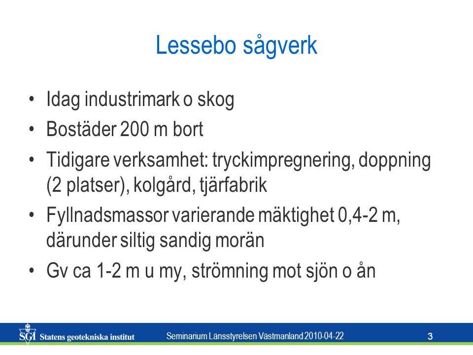 Seminarium Länsstyrelsen Västmanland 2010-04-22 3 Lessebo sågverk Idag industrimark o skog Bostäder 200 m bort Tidigare verksamhet: tryckimpregnering,