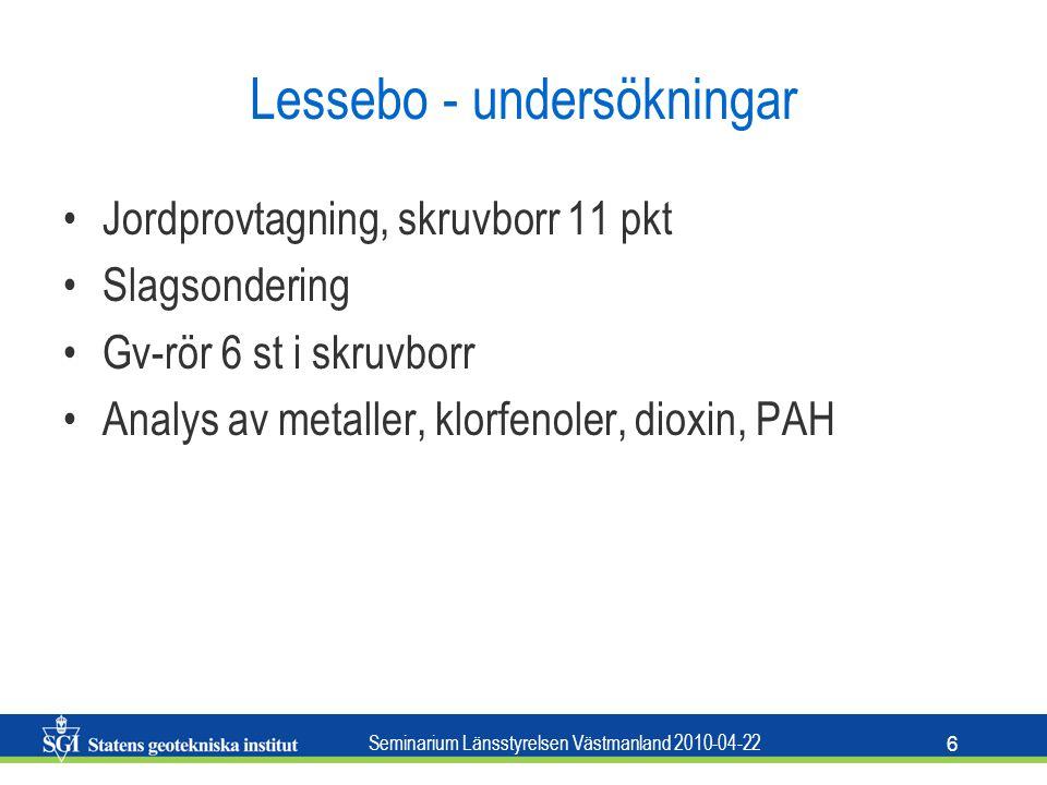 Seminarium Länsstyrelsen Västmanland 2010-04-22 6 Lessebo - undersökningar Jordprovtagning, skruvborr 11 pkt Slagsondering Gv-rör 6 st i skruvborr Ana