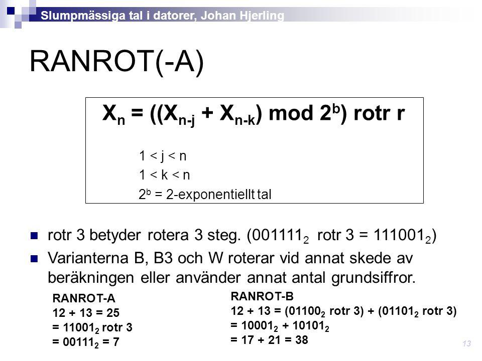RANROT(-A) X n = ((X n-j + X n-k ) mod 2 b ) rotr r 1 < j < n 1 < k < n 2 b = 2-exponentiellt tal rotr 3 betyder rotera 3 steg.