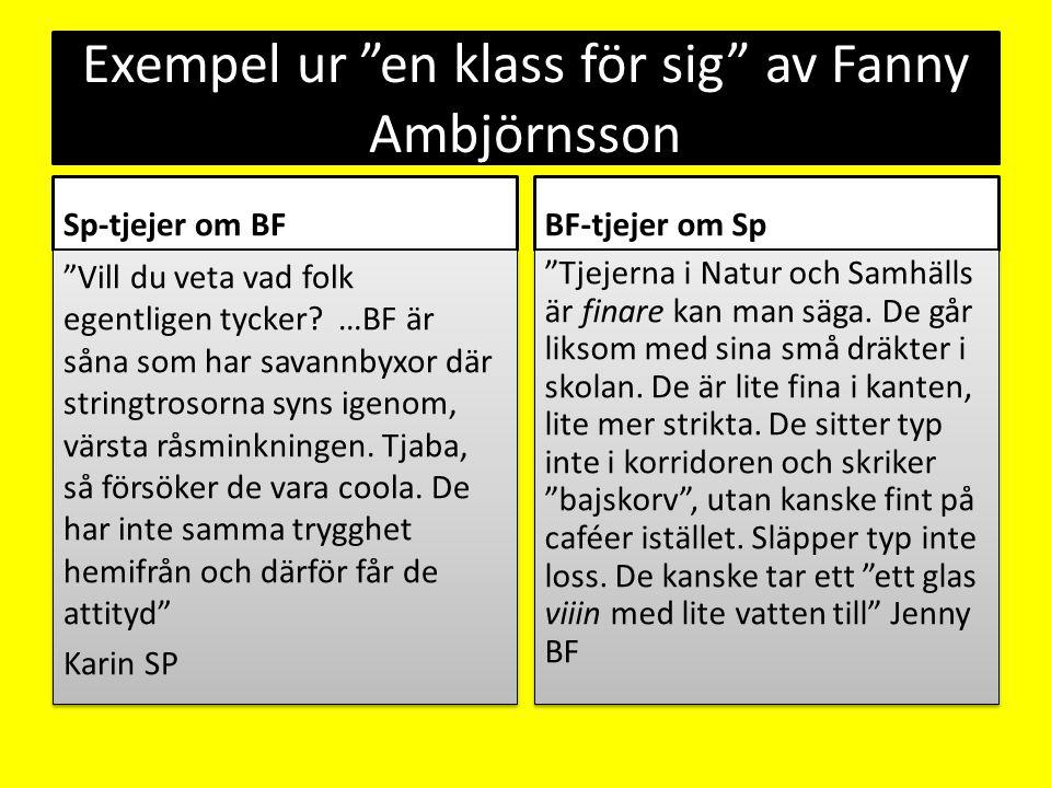 """Exempel ur """"en klass för sig"""" av Fanny Ambjörnsson Sp-tjejer om BF """"Vill du veta vad folk egentligen tycker? …BF är såna som har savannbyxor där strin"""