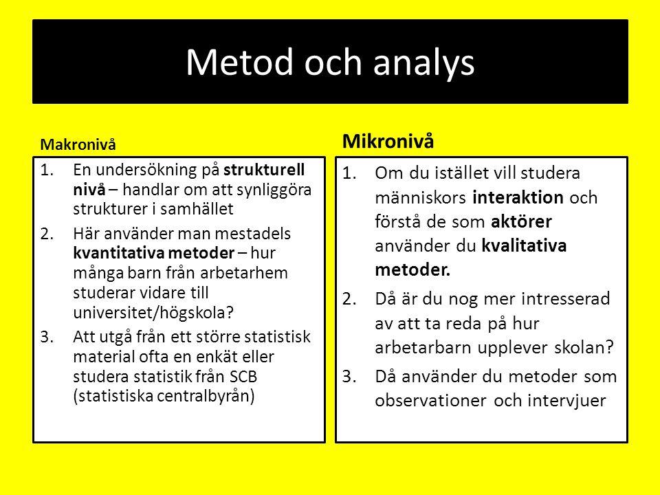 Metod och analys Makronivå 1.En undersökning på strukturell nivå – handlar om att synliggöra strukturer i samhället 2.Här använder man mestadels kvant