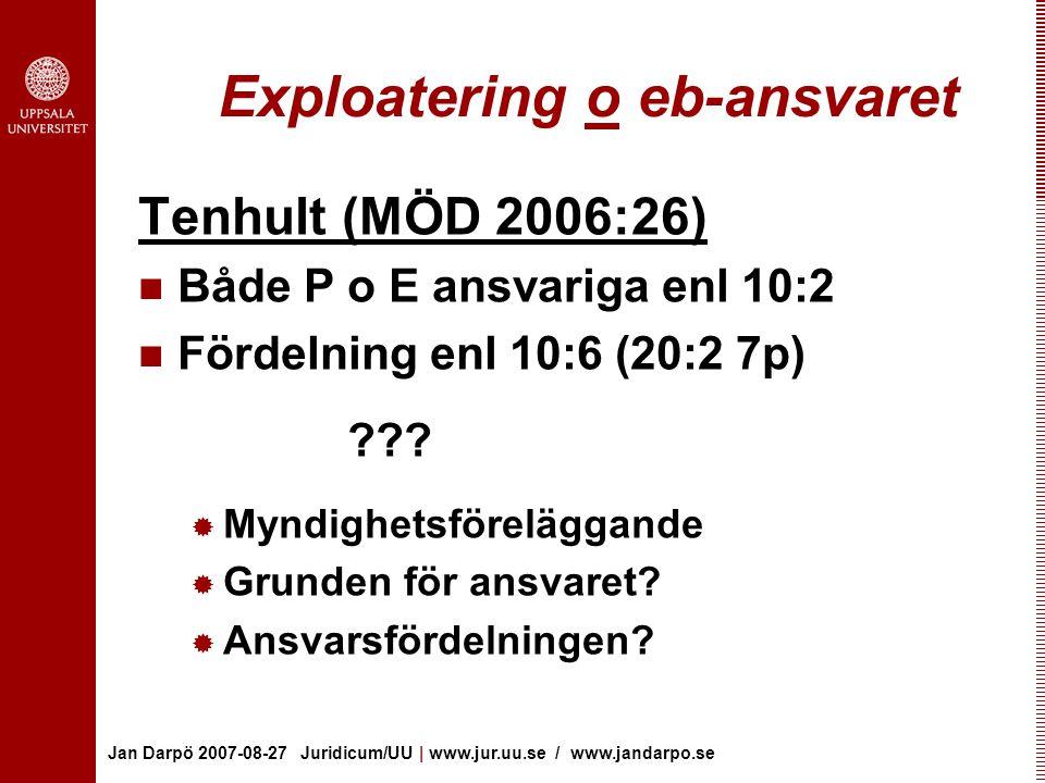 Jan Darpö 2007-08-27 Juridicum/UU | www.jur.uu.se / www.jandarpo.se Exploatering o eb-ansvaret Tenhult (MÖD 2006:26) Både P o E ansvariga enl 10:2 Fördelning enl 10:6 (20:2 7p) .