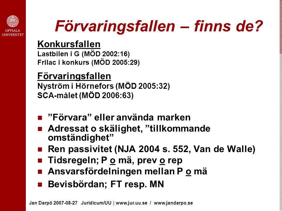 Jan Darpö 2007-08-27 Juridicum/UU | www.jur.uu.se / www.jandarpo.se Förvaringsfallen – finns de? Konkursfallen Lastbilen i G (MÖD 2002:16) Frilac i ko