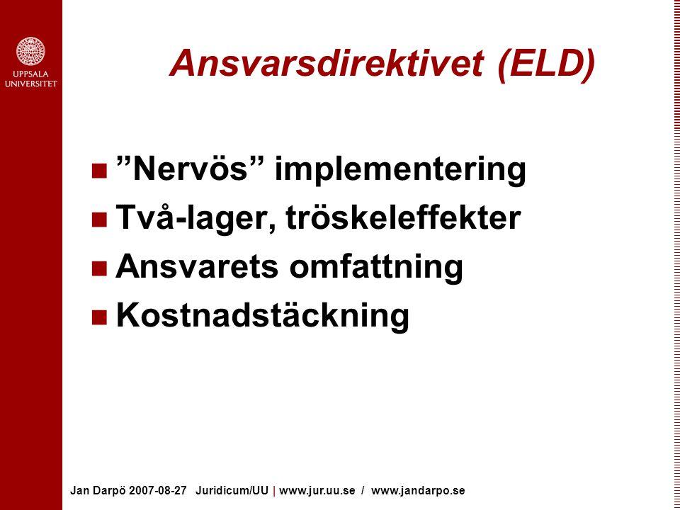 Jan Darpö 2007-08-27 Juridicum/UU | www.jur.uu.se / www.jandarpo.se Ansvarsdirektivet (ELD) Nervös implementering Två-lager, tröskeleffekter Ansvarets omfattning Kostnadstäckning