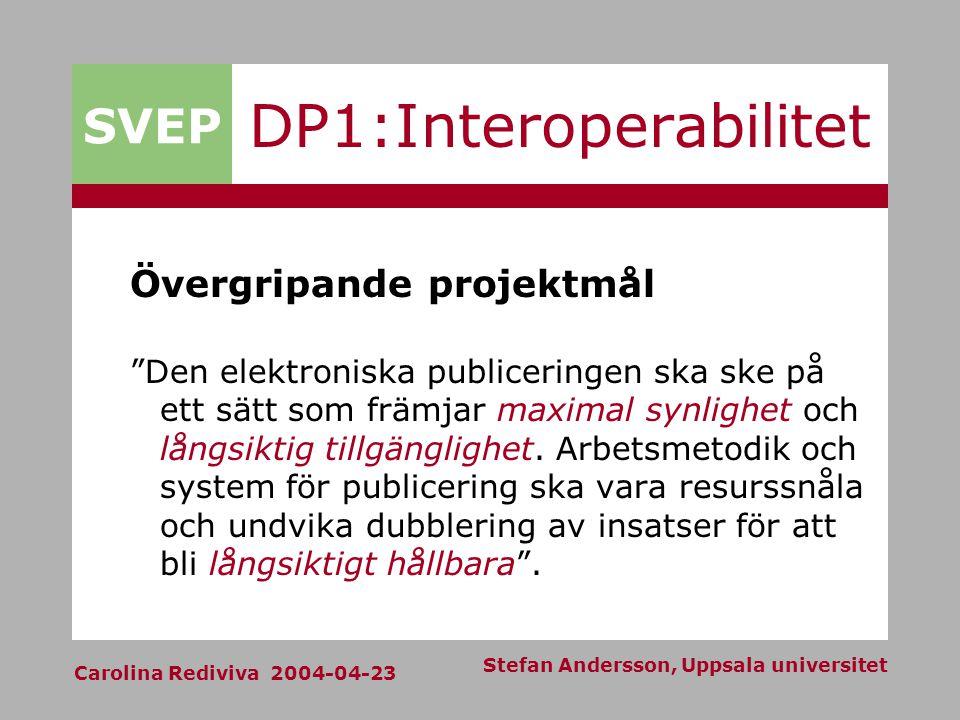 SVEP Carolina Rediviva 2004-04-23 Stefan Andersson, Uppsala universitet DP1:Interoperabilitet Övergripande projektmål Den elektroniska publiceringen ska ske på ett sätt som främjar maximal synlighet och långsiktig tillgänglighet.