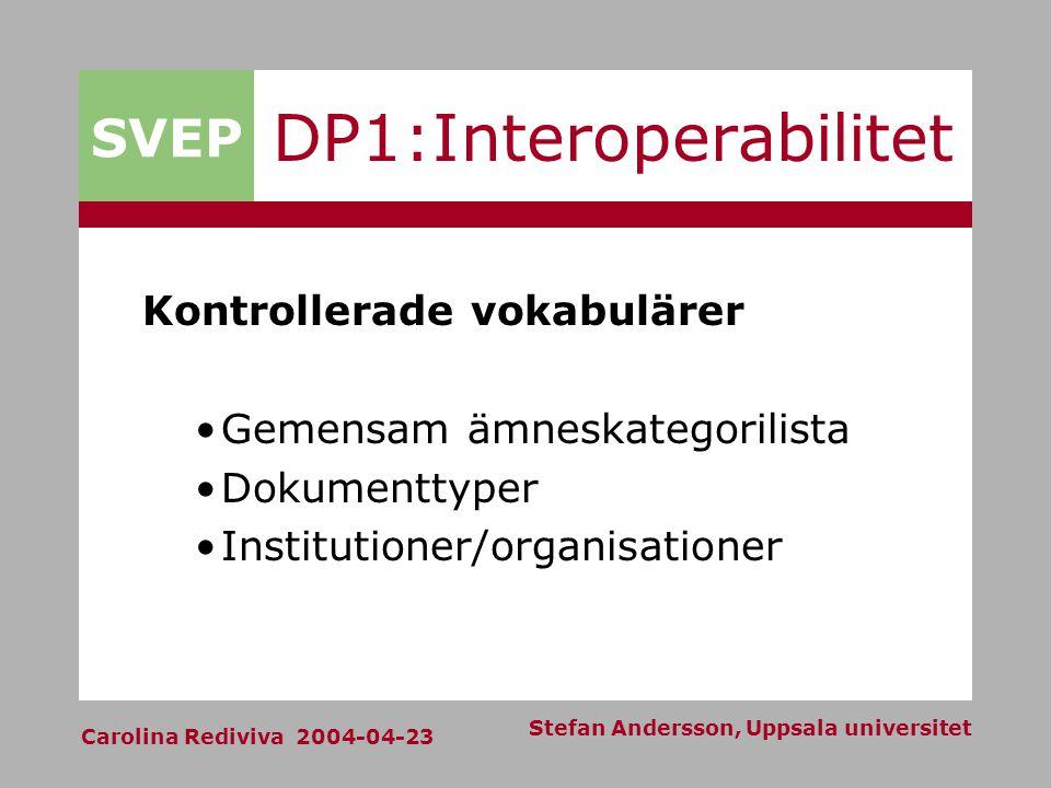 SVEP Carolina Rediviva 2004-04-23 Stefan Andersson, Uppsala universitet DP1:Interoperabilitet Kontrollerade vokabulärer Gemensam ämneskategorilista Dokumenttyper Institutioner/organisationer