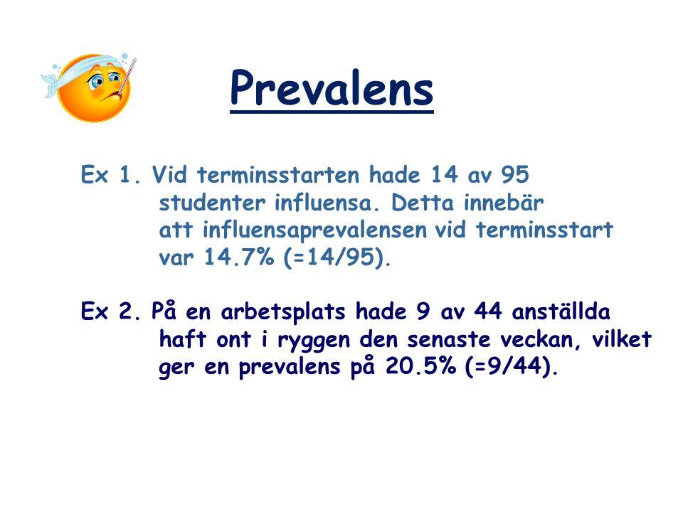 Prevalens Ex 1. Vid terminsstarten hade 14 av 95 studenter influensa. Detta innebär att influensaprevalensen vid terminsstart var 14.7% (=14/95). Ex 2