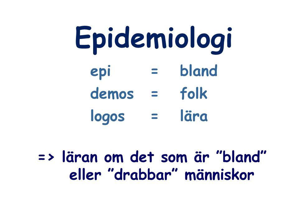 """Epidemiologi epi=bland demos=folk logos=lära => läran om det som är """"bland"""" eller """"drabbar"""" människor"""