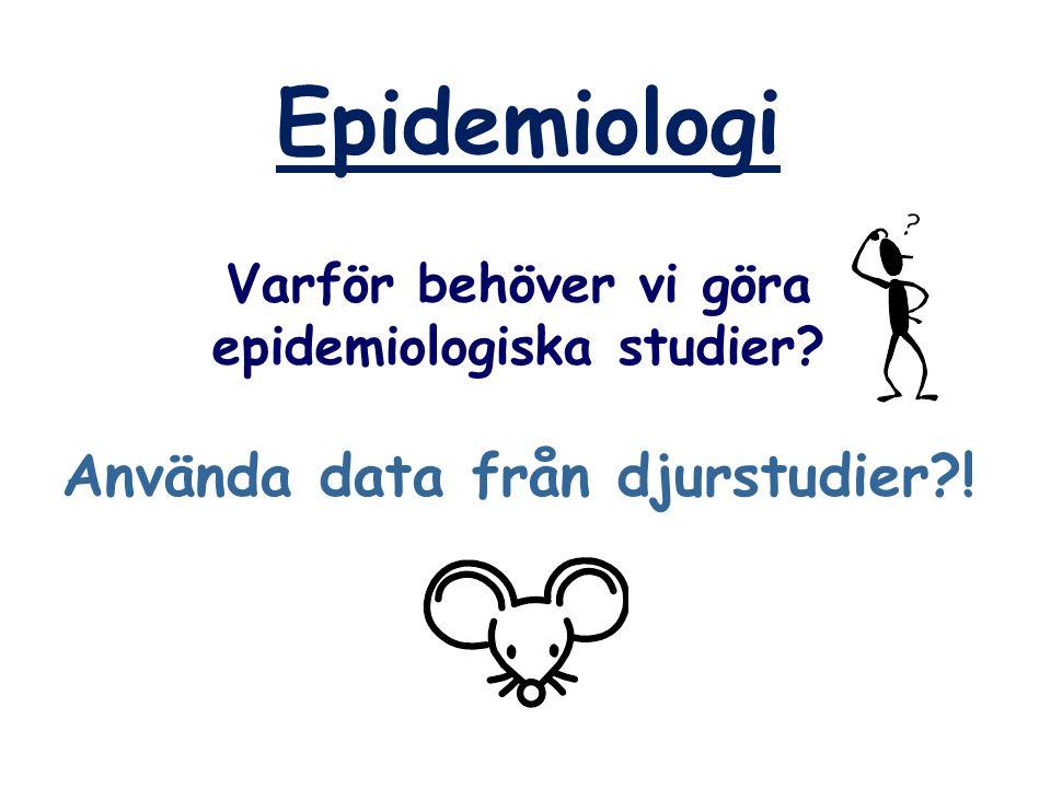Epidemiologi Varför behöver vi göra epidemiologiska studier? Använda data från djurstudier?!
