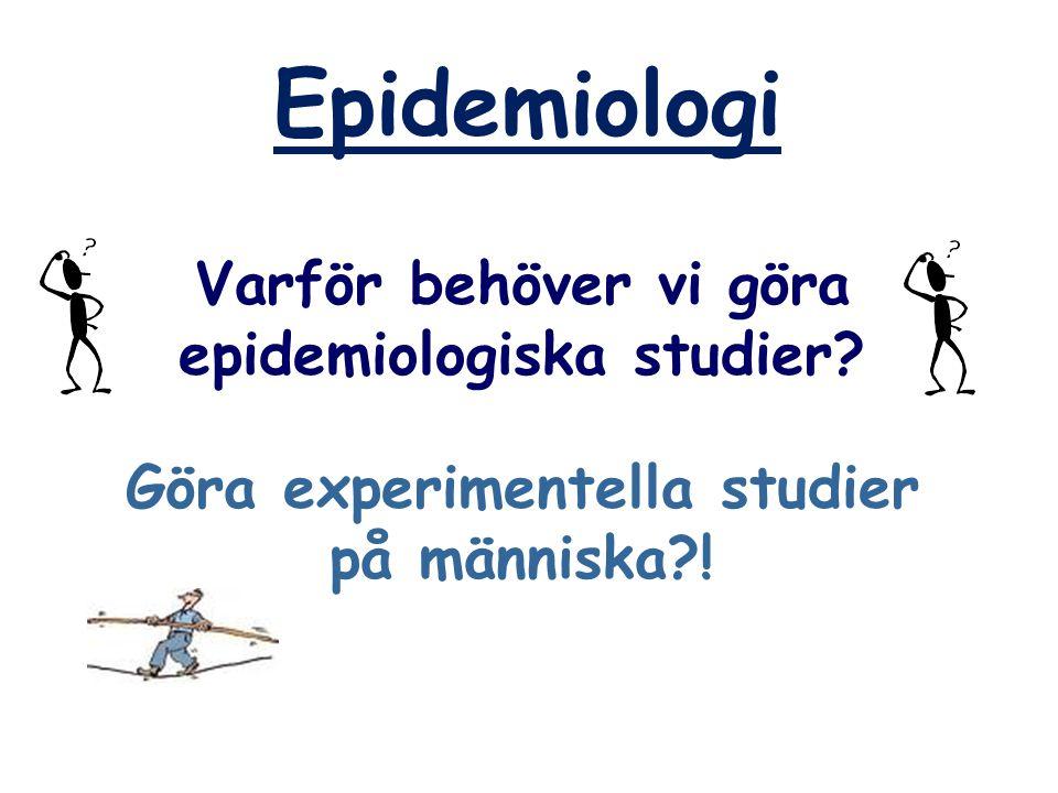 Etiologisk fraktion - Exempel Lungcancermortalitet bland dagliga rökare = 2.2 / 1000 personår Lungcancermortalitet bland icke-rökare = 0.067 / 1000 personår Hur stor andel av lungcancermortaliteten i Sverige kan tillskrivas rökning?