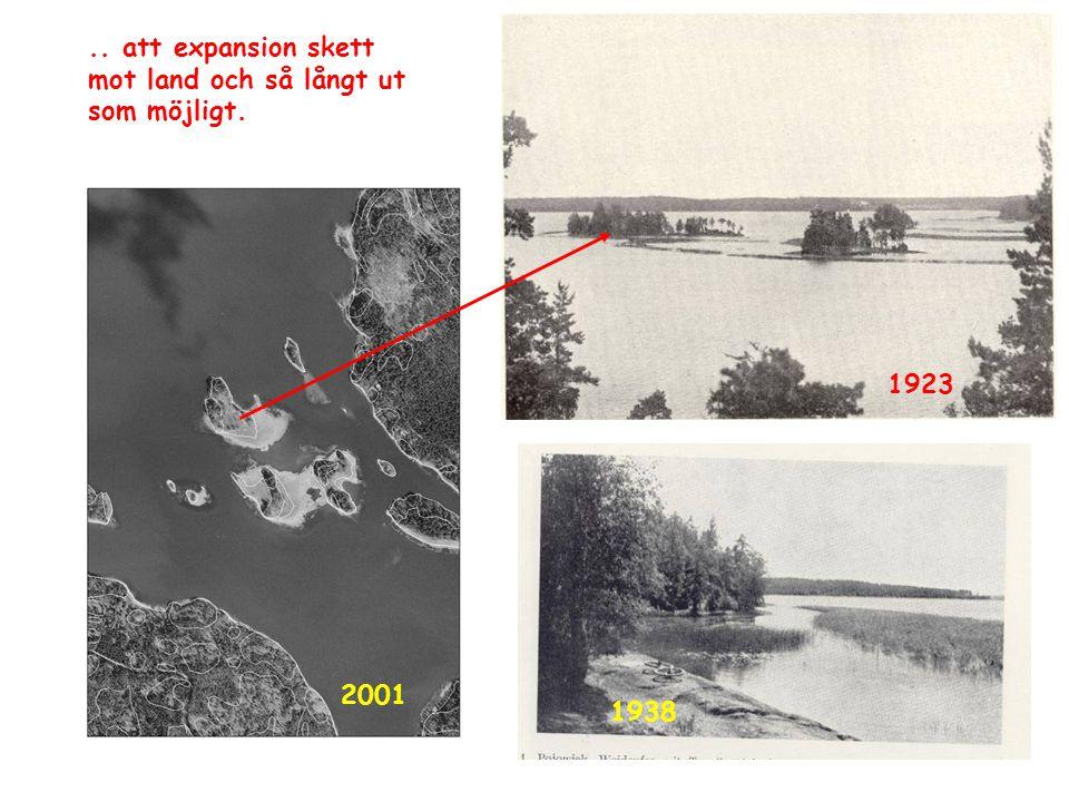 2001 1923 1938.. att expansion skett mot land och så långt ut som möjligt.