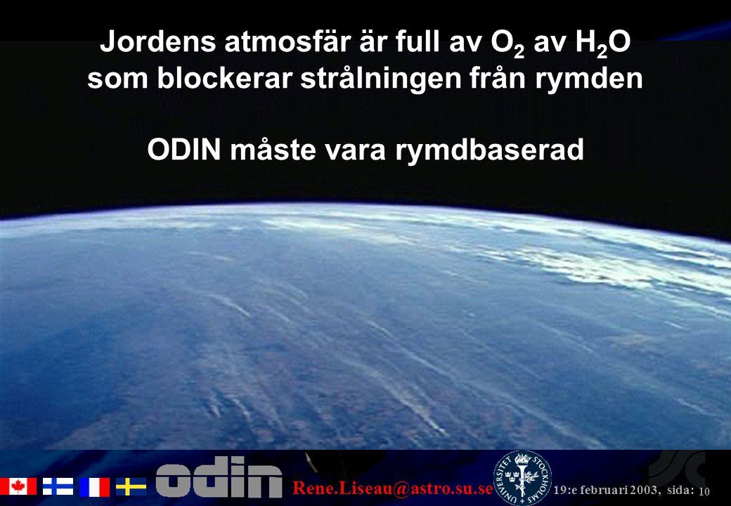 Rene.Liseau@astro.su.se 19:e februari 2003, sida: 10 Jordens atmosfär är full av O 2 av H 2 O som blockerar strålningen från rymden ODIN måste vara rymdbaserad
