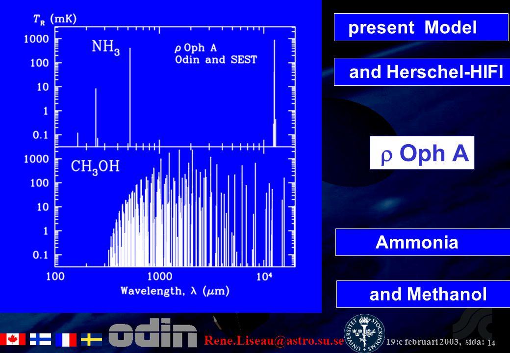 Rene.Liseau@astro.su.se 19:e februari 2003, sida: 14 and Herschel-HIFI present Model Ammonia and Methanol  Oph A