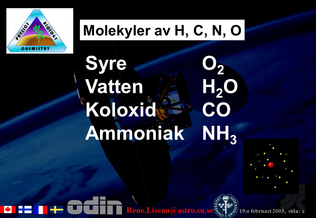 Rene.Liseau@astro.su.se 19:e februari 2003, sida: 9 Molekyler av H, C, N, O Syre O 2 Vatten H 2 O Koloxid CO Ammoniak NH 3
