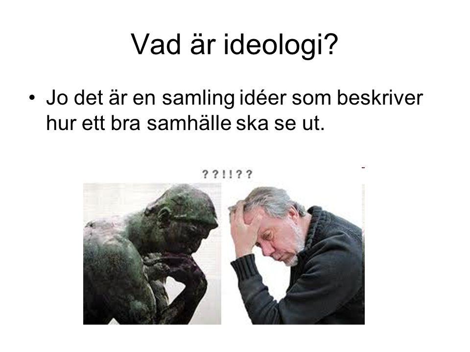 Vad är ideologi? Jo det är en samling idéer som beskriver hur ett bra samhälle ska se ut.