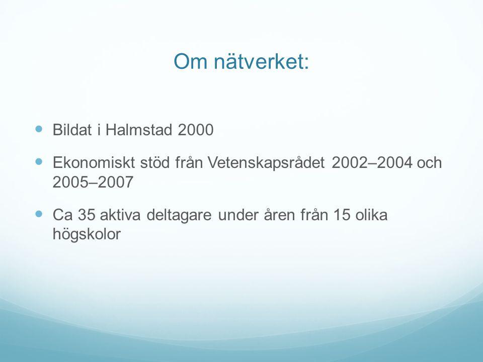 Om nätverket: Bildat i Halmstad 2000 Ekonomiskt stöd från Vetenskapsrådet 2002–2004 och 2005–2007 Ca 35 aktiva deltagare under åren från 15 olika högs