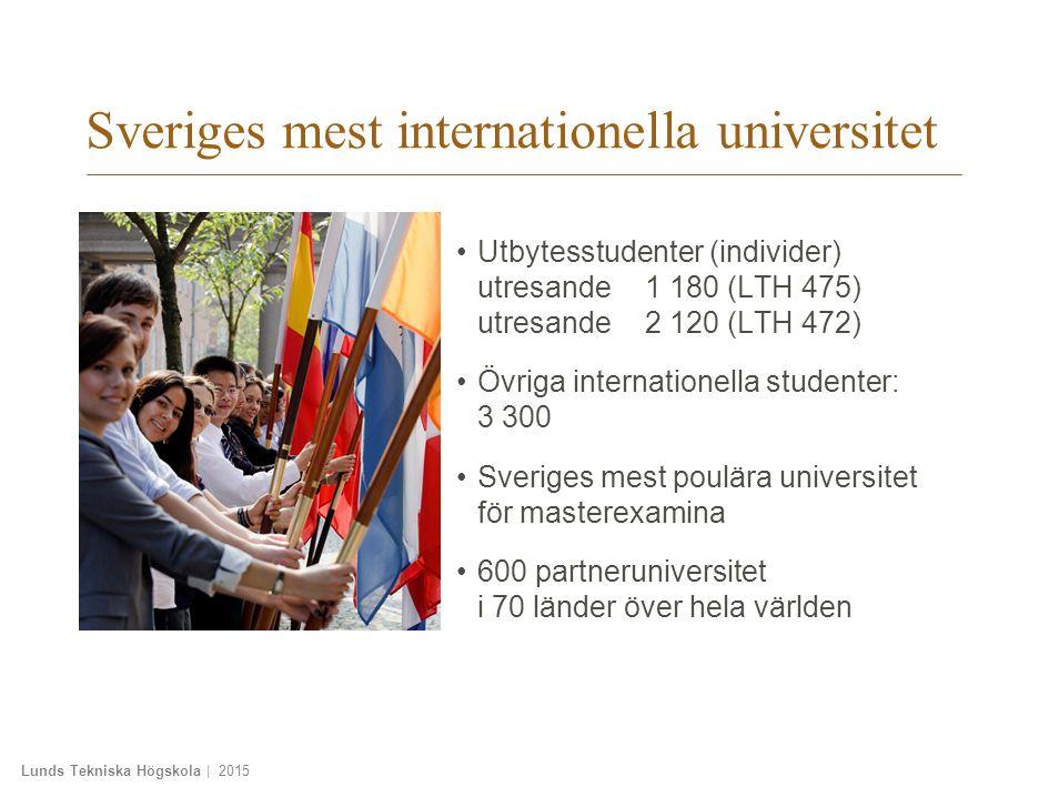 Lunds Tekniska Högskola | 2015 Sveriges mest internationella universitet Utbytesstudenter (individer) utresande1 180 (LTH 475) utresande2 120 (LTH 472) Övriga internationella studenter: 3 300 Sveriges mest poulära universitet för masterexamina 600 partneruniversitet i 70 länder över hela världen